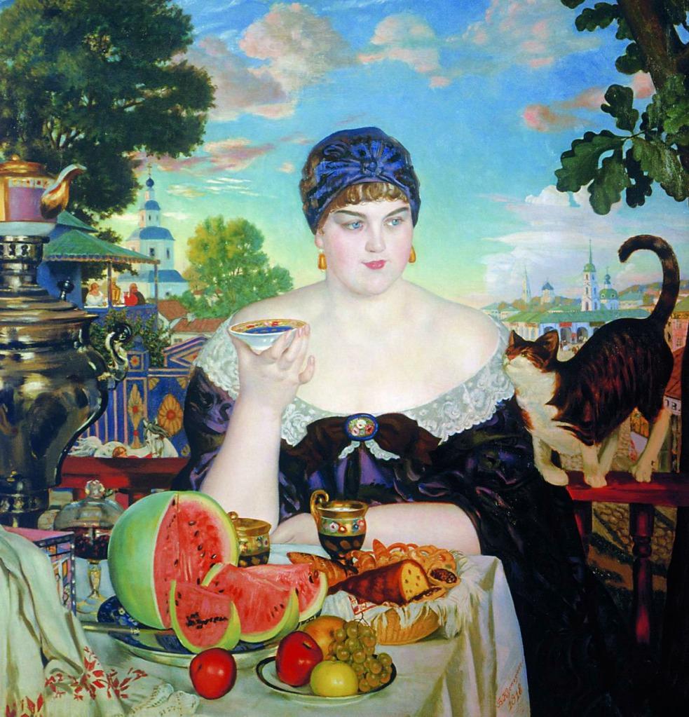 koustodiev femme marchand prend thé russe histoire samovar peintres art